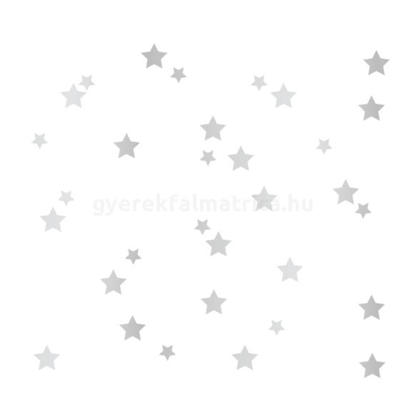 ezüst csillagos falmatrica