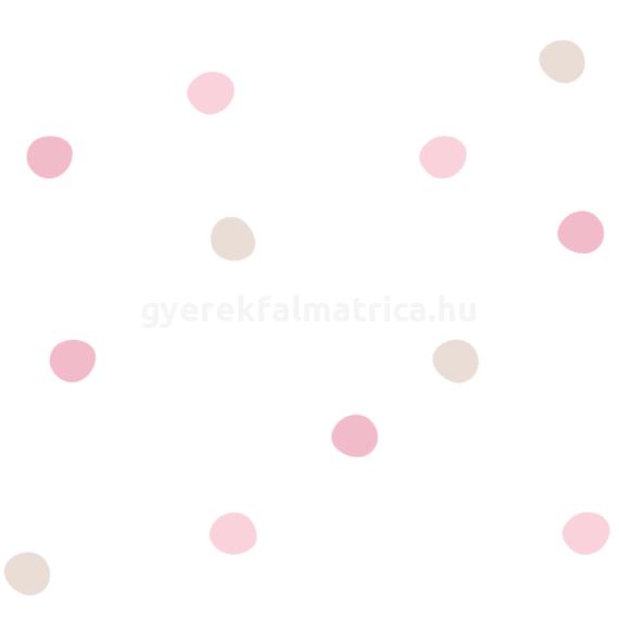 rózsaszín pöttyös falmatrica
