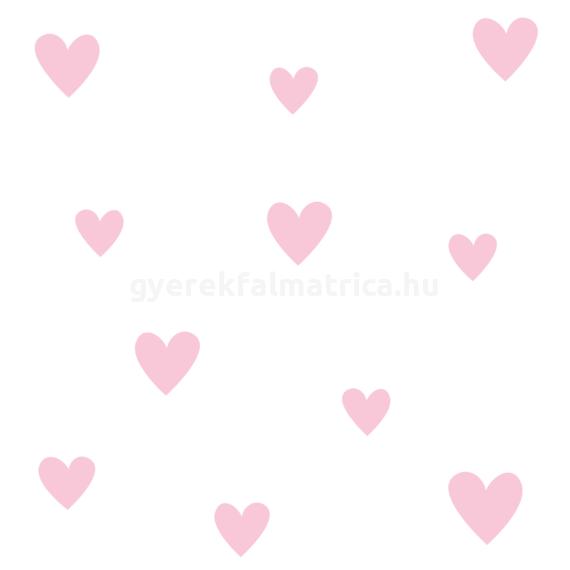 Rózsaszívecskék falmatrica