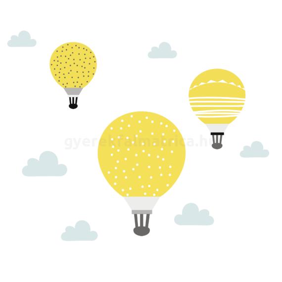 Sárga ballonok falmatrica