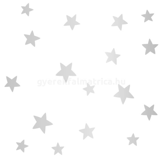 Ragyogó csillagok falmatrica - ezüst