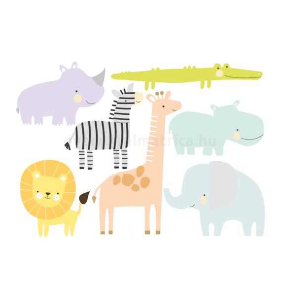 Szafari állatok falmatrica