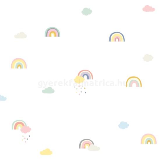 Szivárvány és esőfelhő falmatrica - pasztell
